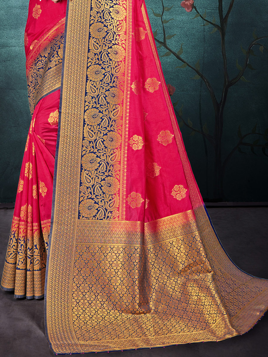 Dark Pink Nylon Silk Handwoven Festival Saree