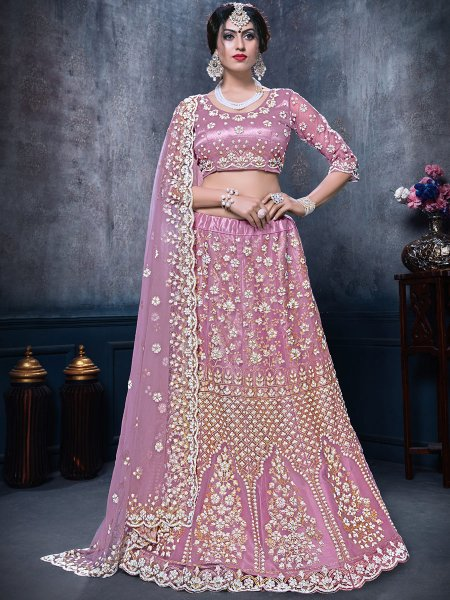 Light Thulian Pink Net Embroidered Bridal Lehenga Choli