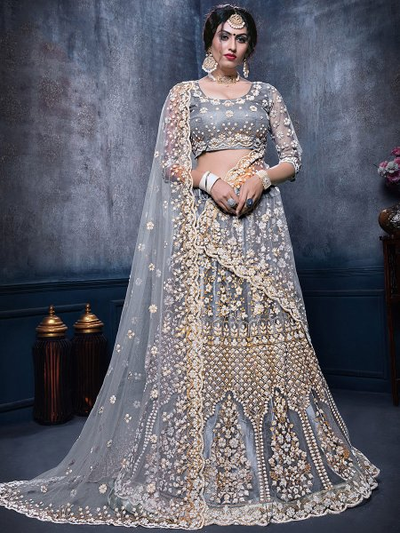 Gray Net Embroidered Bridal Lehenga Choli