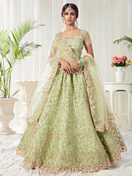 Moss Green Net Embroidered Bridal Lehenga Choli