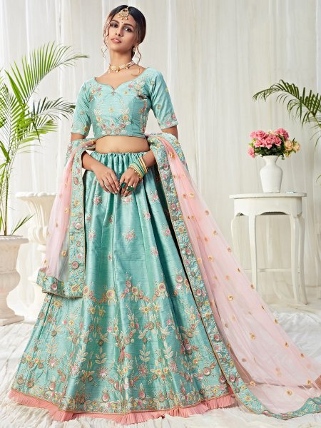 Sky Blue Silk Embroidered Bridal Lehenga Choli