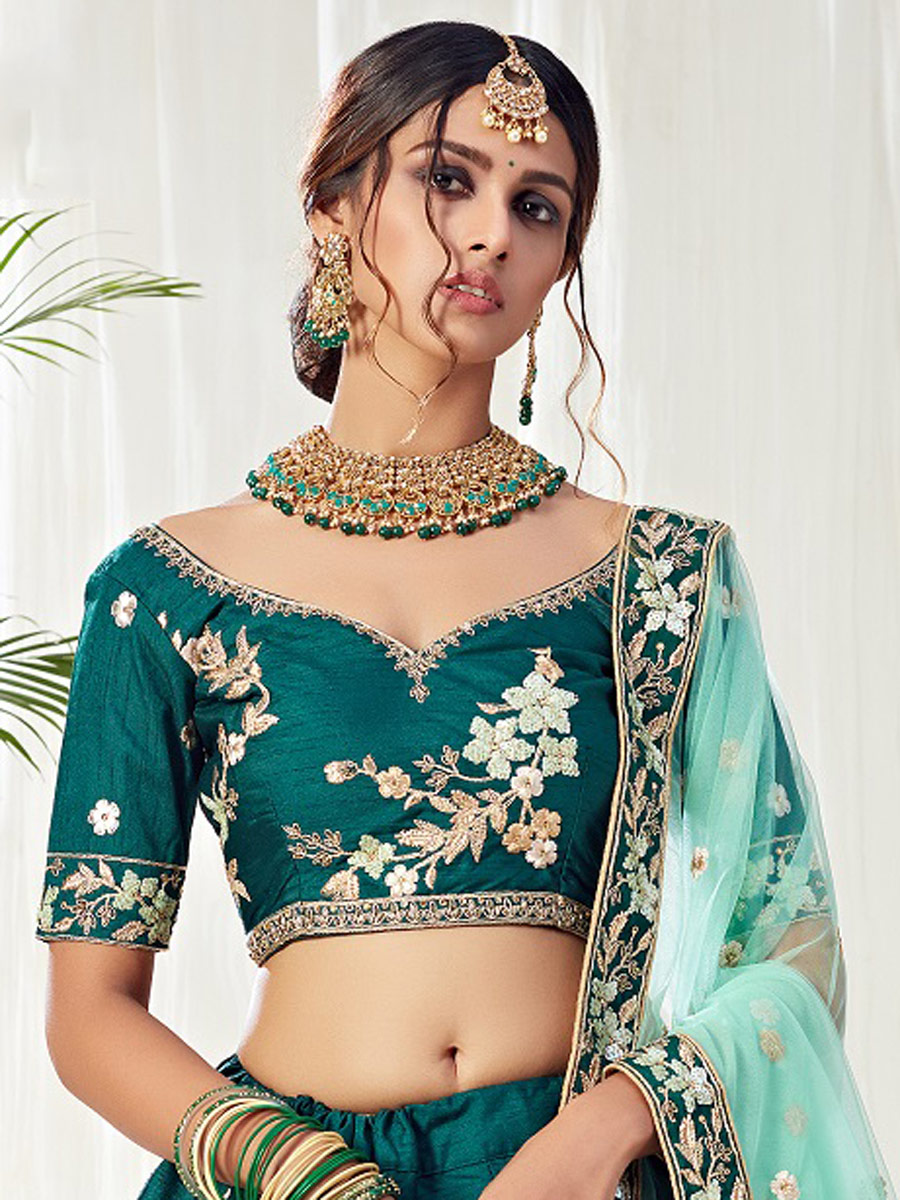 Teal Blue Silk Embroidered Bridal Lehenga Choli