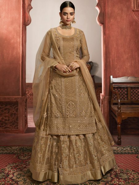 Beige Yellow Net Embroidered Party Lehenga with Suit