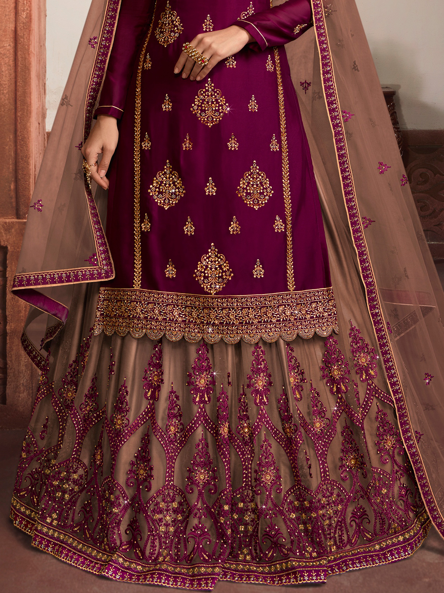 Mauve Violet Net Embroidered Party Lehenga with Suit