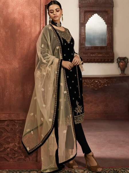 Black Faux Georgette Embroidered Party Pant Kameez
