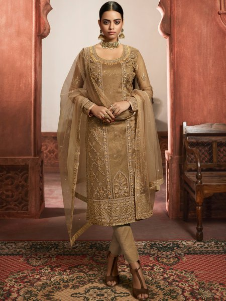 Beige Yellow Net Embroidered Party Pant Kameez