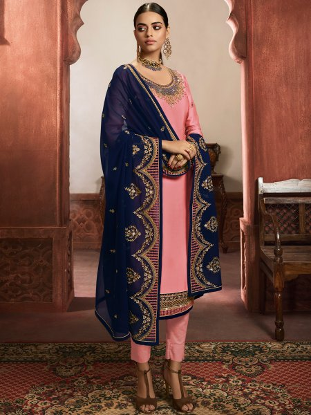Salmon Pink Satin Embroidered Party Pant Kameez