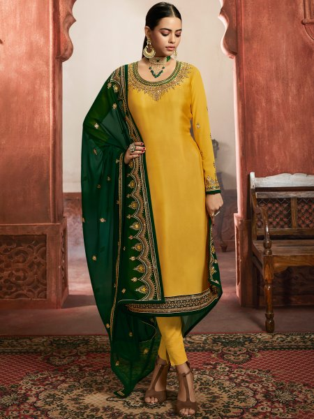 Mustard Yellow Satin Embroidered Party Pant Kameez