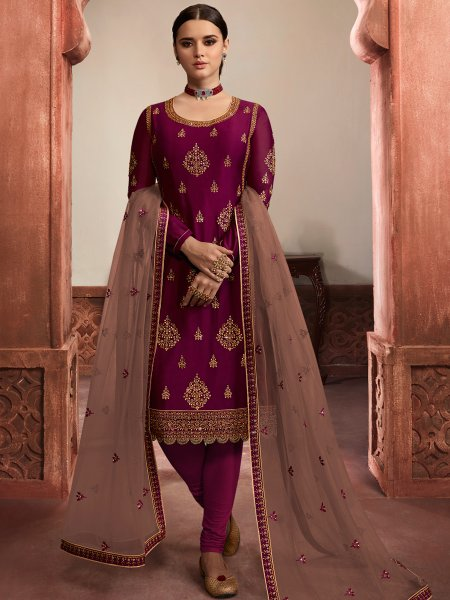 Wine Red Rangoli Satin Embroidered Party Churidar Pant Kameez