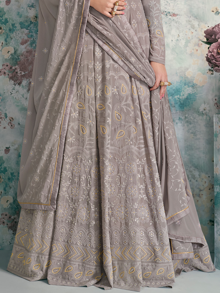 Gray Faux Georgette Embroidered Festival Lawn Kameez