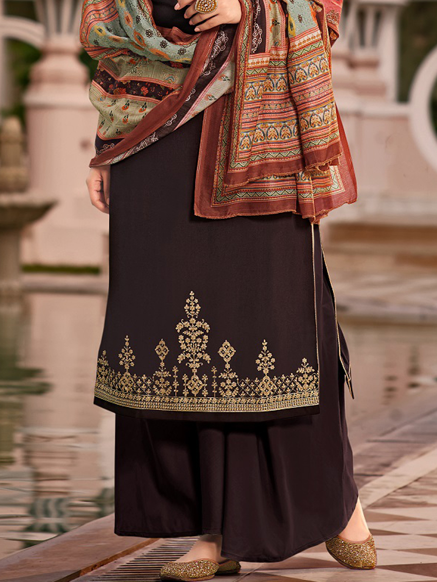 Black Tussar Silk Embroidered Party Palazzo Pant Kameez