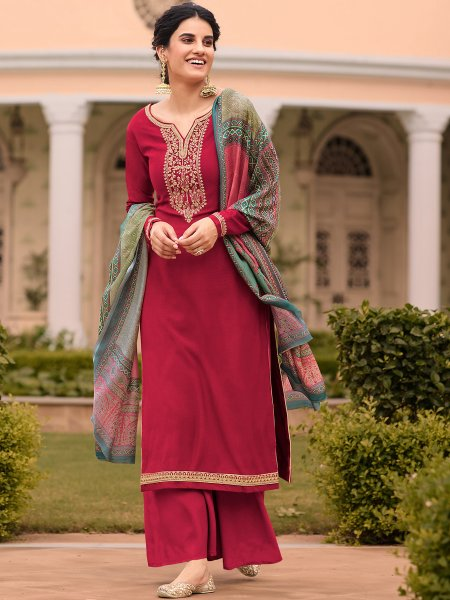 Cerise Pink Tussar Silk Embroidered Party Palazzo Pant Kameez