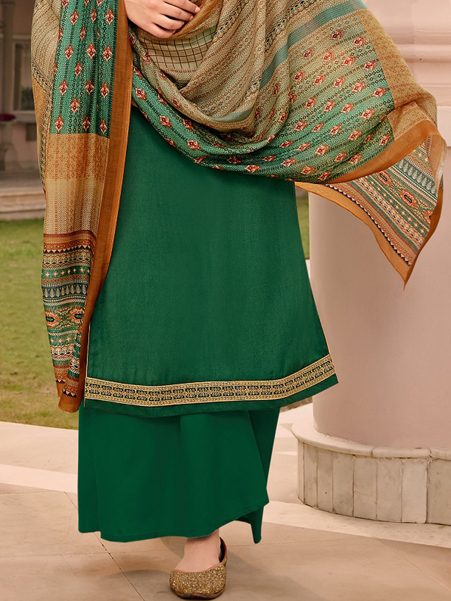 Sea Green Tussar Silk Embroidered Party Palazzo Pant Kameez