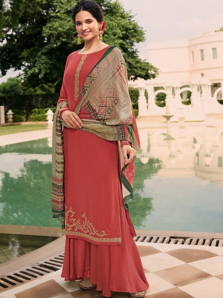 Persian Red Tussar Silk Embroidered Party Palazzo Pant Kameez