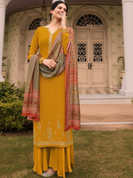 Amber Yellow Tussar Silk Embroidered Party Palazzo Pant Kameez