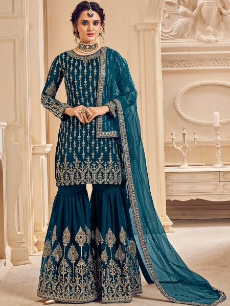 Teal Blue Faux Georgette Embroidered Festival Sharara Pant Kameez