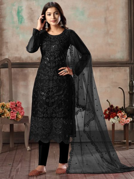 Black Net Embroidered Party Pant Kameez