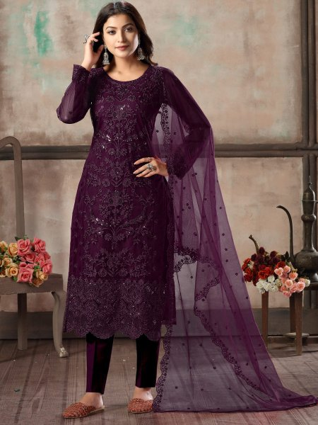 Byzantium Purple Net Embroidered Party Pant Kameez