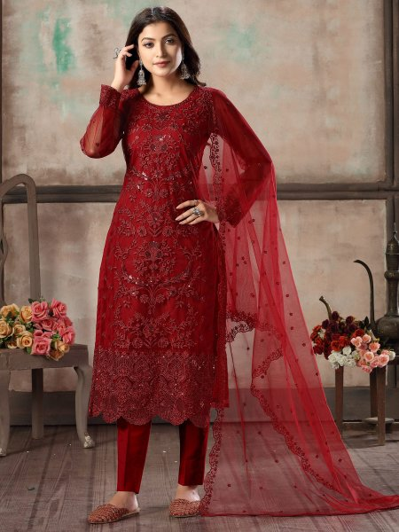 Maroon Net Embroidered Party Pant Kameez