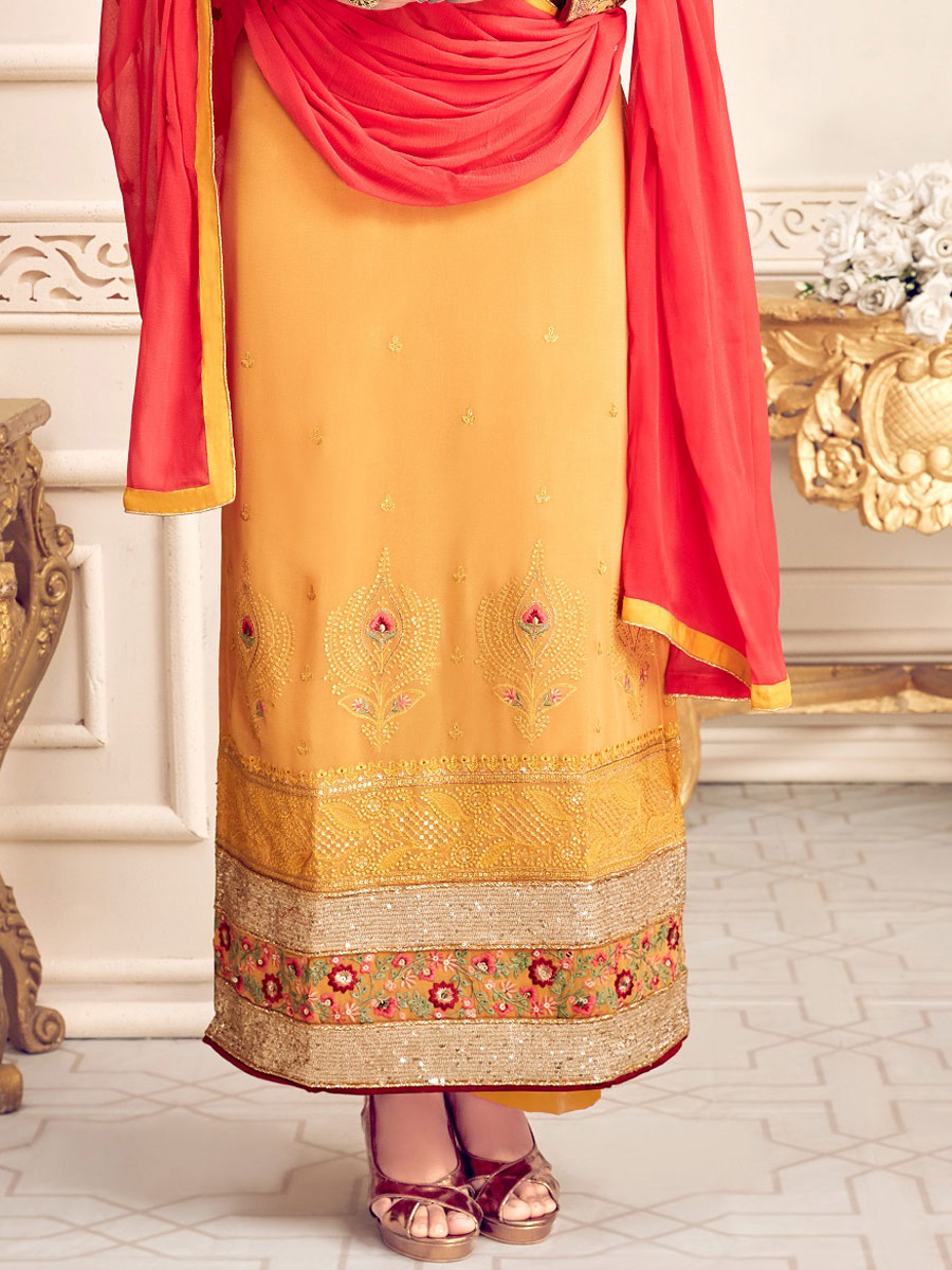 Mustard Yellow Faux Georgette Embroidered Festival Palazzo Pant Kameez