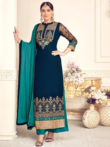 Yale Blue Faux Georgette Embroidered Festival Palazzo Pant Kameez