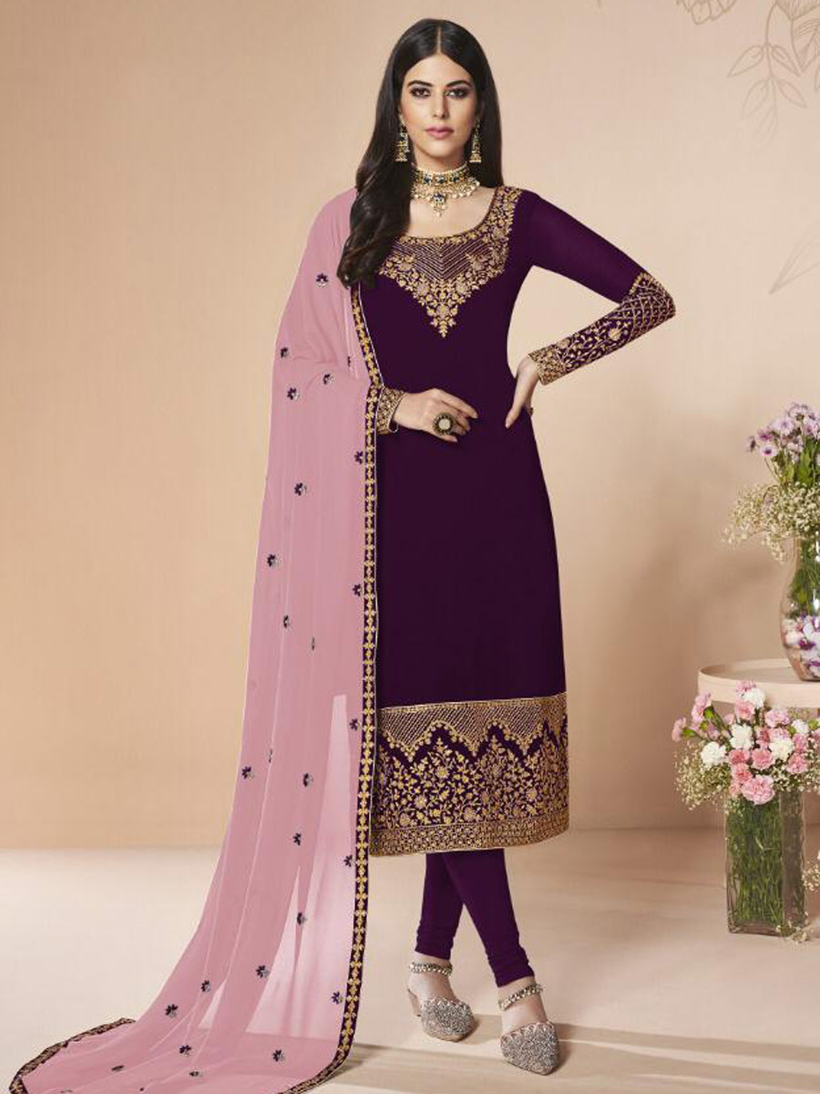 Byzantium Purple Faux Georgette Embroidered Festival Churidar Pant Kameez