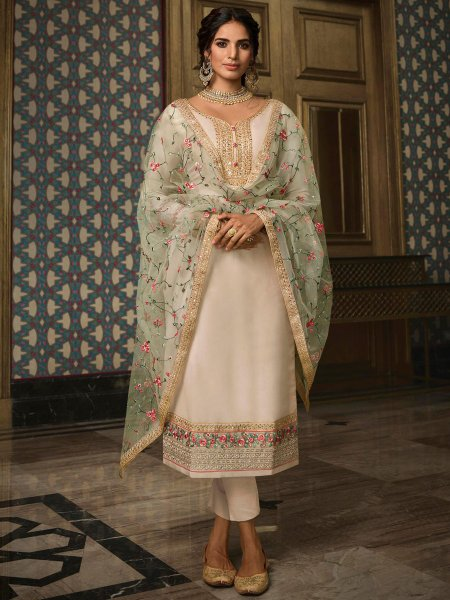 Cream Yellow Tussar Silk Embroidered Festival Pant Kameez