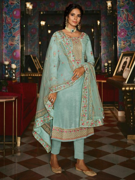 Sky Blue Tussar Silk Embroidered Festival Pant Kameez