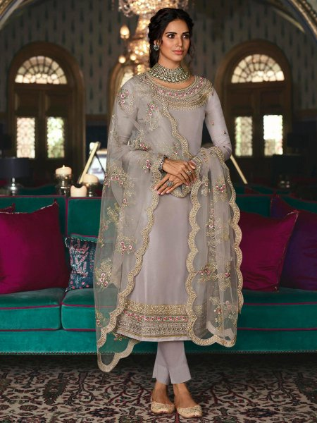 Gray Tussar Silk Embroidered Festival Pant Kameez