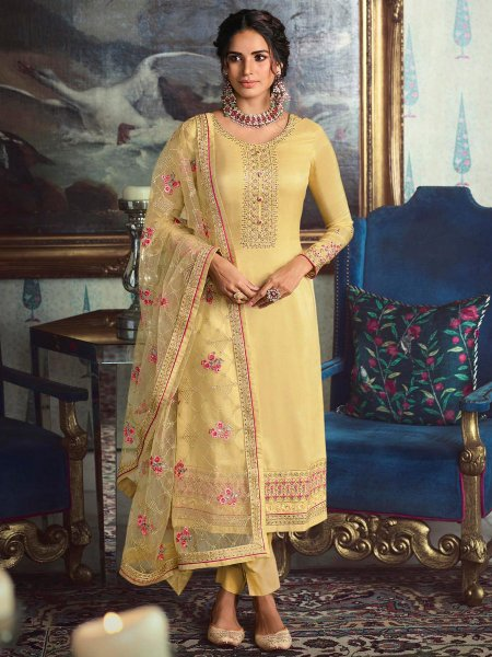 Buff Yellow Tussar Silk Embroidered Festival Pant Kameez