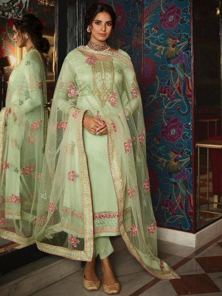 Celadon Green Tussar Silk Embroidered Festival Pant Kameez