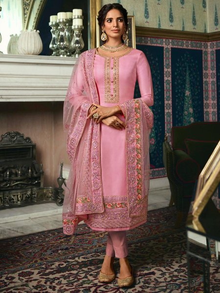 Light Thulian Pink Tussar Silk Embroidered Festival Pant Kameez