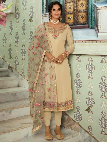 Beige Yellow Tussar Silk Embroidered Festival Pant Kameez