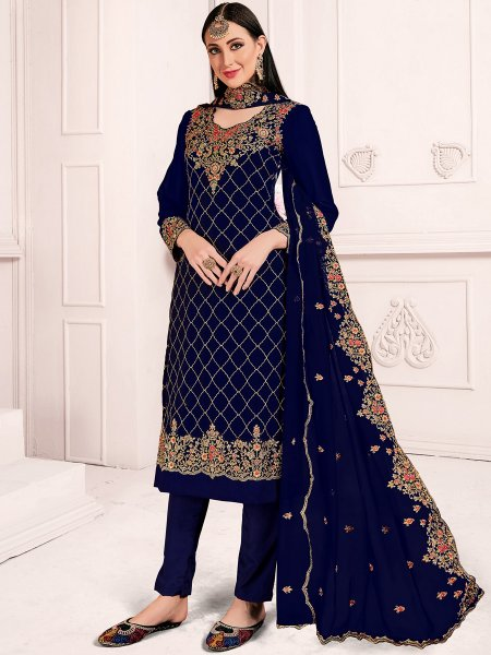 Navy Blue Faux Georgette Embroidered Party Churidar Pant Kameez