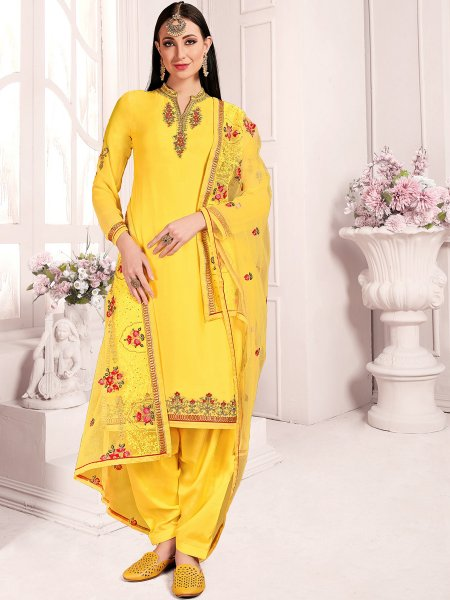 Saffron Yellow Satin Georgette Embroidered Party Patiala Pant Kameez