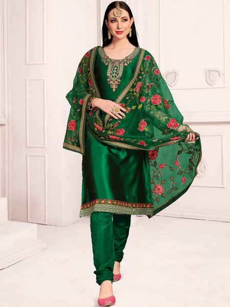 Hunter Green Satin Georgette Embroidered Party Churidar Pant Kameez