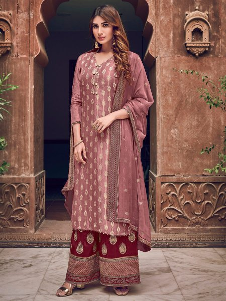 Light Thulian Pink Jacquad Embroidered Festival Palazzo Pant Kameez