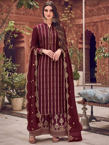 Cordovan Brown Jacquad Embroidered Festival Palazzo Pant Kameez