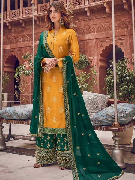 Mustard Yellow Jacquad Embroidered Festival Palazzo Pant Kameez