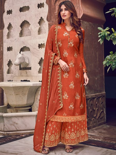 Portland Orange Jacquad Embroidered Festival Palazzo Pant Kameez