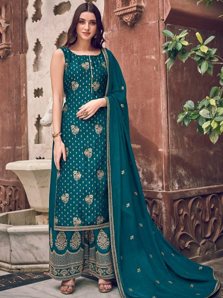 Teal Blue Jacquad Embroidered Festival Palazzo Pant Kameez