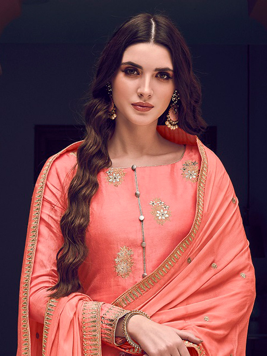 Coral Pink Jacquad Embroidered Festival Palazzo Pant Kameez