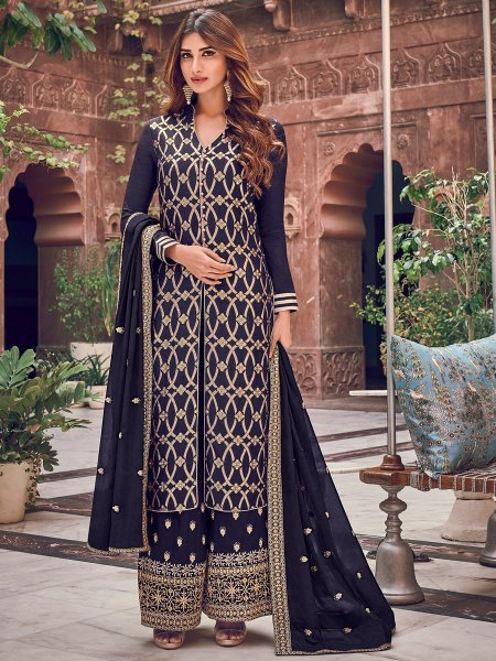 Sapphire Blue Jacquad Embroidered Festival Palazzo Pant Kameez