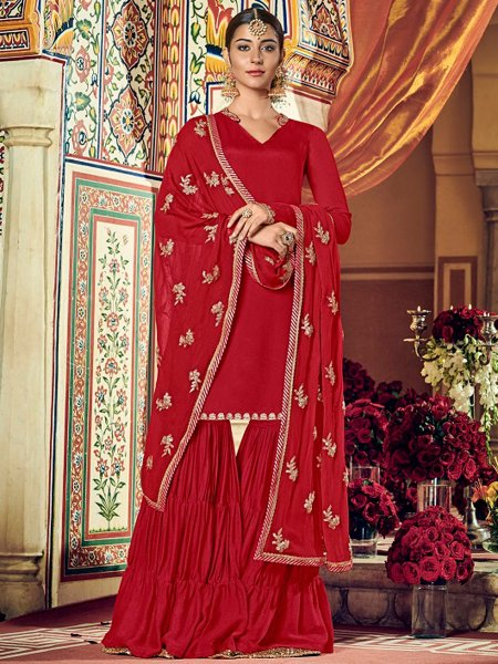 Venetian Red Faux Georgette Embroidered Party Sharara Pant Kameez