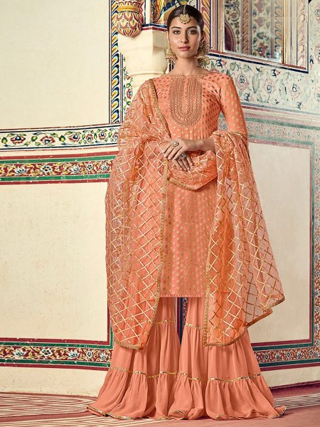 Salmon Orange Jacquard Embroidered Party Sharara Pant Kameez