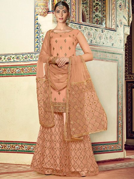 Coral Orange Net Embroidered Party Palazzo Pant Kameez