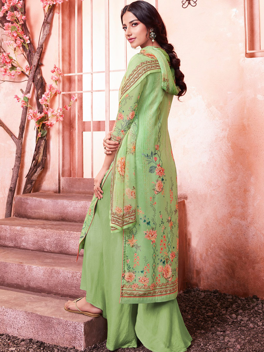 Parrot Green Faux Georgette Embroidered Party Palazzo Pant Kameez