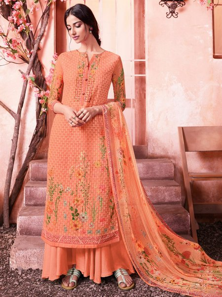 Coral Orange Faux Georgette Embroidered Party Palazzo Pant Kameez