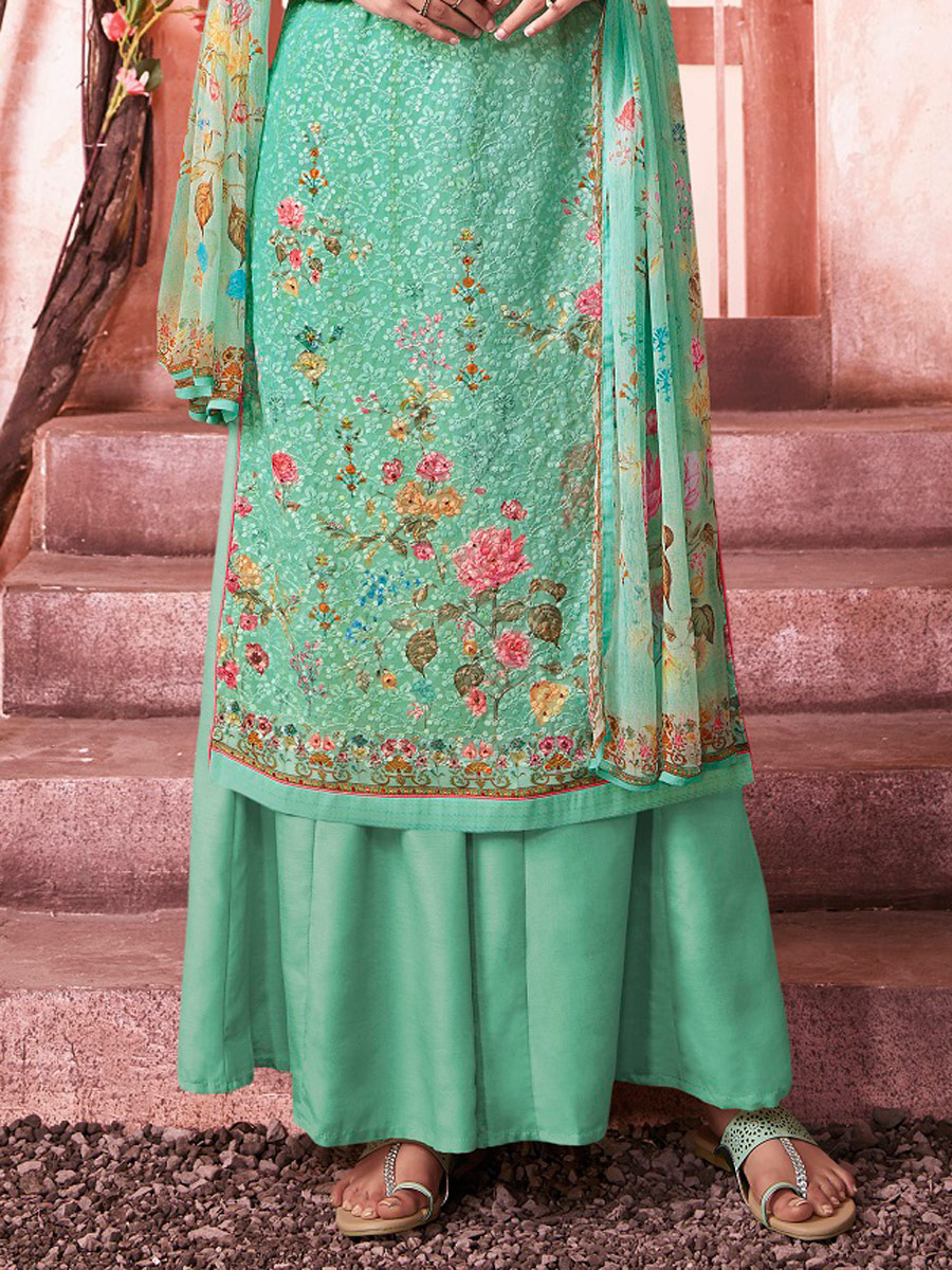 Aquamarine Blue Faux Georgette Embroidered Party Palazzo Pant Kameez