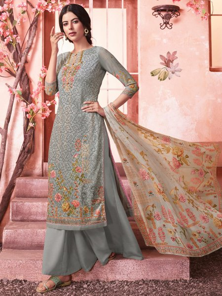 Gray Faux Georgette Embroidered Party Palazzo Pant Kameez